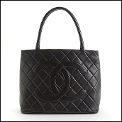 Chanel Vintage Black Lambskin Gold Medallion Tote Bag