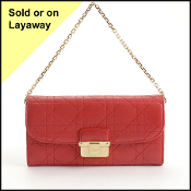 Christian Dior Red Cannage Quilted Wallet on Chain