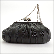 Tiffany & Co. Black Pleated Leather Ball Clasp Vivian Bag