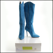 Size 39 Goffredo Fantini Blue Suede High Heel Boots