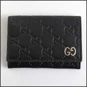 Gucci Black Leather Guccissima Card Wallet