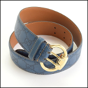 Gucci Blue Leather Belt
