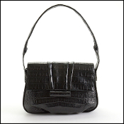 Nancy Gonzalez Black Crocodile Pleated Shoulder Bag