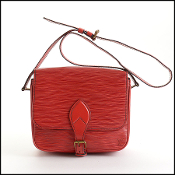 Louis Vuitton Red Epi Leather Cartouchiere MM Bag