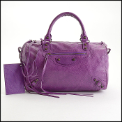 Balenciaga Ultra Violet Purple Lambskin Boston Polly Handbag