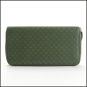 Gucci Green Leather Guccissima Long Zip Wallet