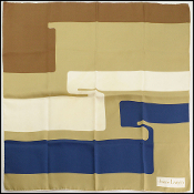 Lanvin Vintage Gold/Navy/Cream Silk Scarf