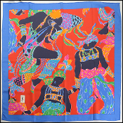 Yves Saint Laurent Blue/Red Multicolor Dancers Silk Scarf