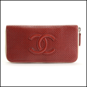 Chanel Rust Orange Perforated Leather CC Logo Zip Wallet