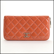Chanel Melon Patent Quilted Leather Logo Zip Around Wallet