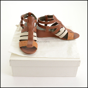 Balenciaga Cognac Brown Wedge Cage Sandals (Size 37.5)