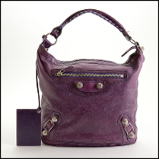 Balenciaga Purple Lambskin 21mm Silver Giant Day Bag