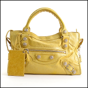 Balenciaga Yellow Lambskin Silver 21 Giant HW City Bag