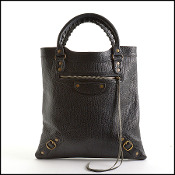 Balenciaga Black Caribou Leather Flat Brass Tote Bag
