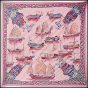 Hermes Pink Jonques et Sampans Pleated Silk Scarf