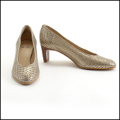 Stuart Weitzman Gold Perforated Leather Pumps Size 9