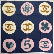 Chanel Navy/Pink/Ivory Lucky Charms Silk Scarf