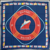 Chanel Navy/Red/Multicolor Cruise Silk Scarf