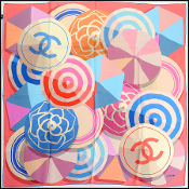 Chanel Pink/Blue/Multicolor Beach Ball/Umbrella Silk Scarf