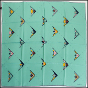 Chanel Turquoise/Multicolor Art Deco Design Silk Scarf