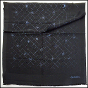 Chanel Black Metallic Stamped Logo Wool Scarf Wrap