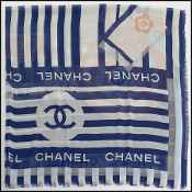 Chanel Navy/Ivory/Peach Cashmere/Silk Scarf Wrap