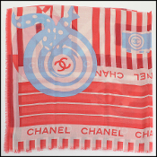 Chanel Red/Ivory/Blue Cashmere/Silk Scarf Wrap