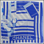 Chanel Royal Blue/Ivory Mementos Cashmere/Silk Scarf Wrap