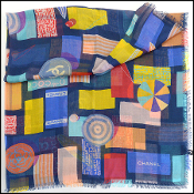 Chanel Navy/Multicolor Beach Fun Cashmere/Silk Scarf Wrap