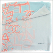 Chanel Blue/Pink/Ivory Cashmere Scarf Wrap
