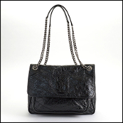 Saint Laurent Black Crinkled Calfskin Matelasse Niki Bag