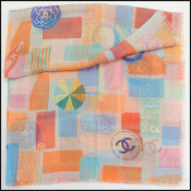 Chanel Orange/Multicolor Beach Fun Cashmere/Silk Scarf Wrap