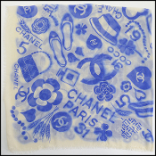 Chanel Ivory/Royal Blue Mementos Cashmere/Silk Scarf Wrap