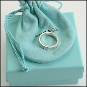 Tiffany & Co. Sterling Silver Concave 1837 Narrow Band Ring