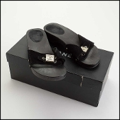 Chanel Black Suede Wood Slide Sandals Size 36