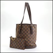Louis Vuitton Damier Ebene Marais Bucket PM Bag w/Pouch