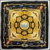"Hermes Black/Multicolor ""Railing"" 90cm Silk Scarf"