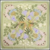 Hermes Light Green Flora Graeca 90cm Silk Scarf