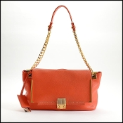 Lanvin Orange Leather Chain Strap Bag