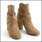 Saint Laurent Brown Suede Babies Heel Boots Size 39.5