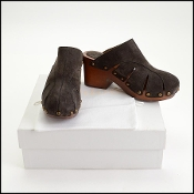 Chloe Charcoal Black Suede Quinty Clogs Size 39