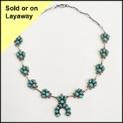 Frederico Jimenez Turquoise/Sterling Squash Blossom Necklace