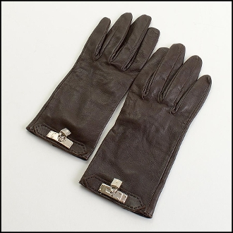 Hermes Brown Lambskin Kelly Lock Soya Gloves Size 7