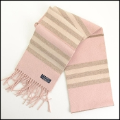 Burberry Pink Striped Wool/Cashmere Scarf