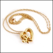 Tiffany & Co. 18K Gold Heart & Bow Pendant Necklace