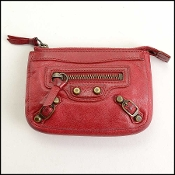 Balenciaga Ruby Red Lambskin Mini Coin Purse