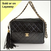 Chanel Vintage Black Quilted Leather Camera Bag w/Chain Strap