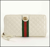 Gucci White Quilted Leather GG Marmont Zip Around Wallet
