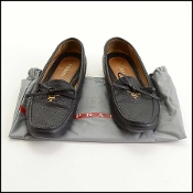 Prada Black Leather Driving Moccasin Loafers Size 41