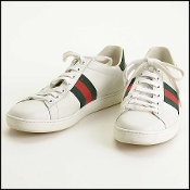 Gucci White Leather/Web Trim Ace Sneakers Size 37